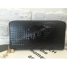 Стильный кошелек Chanel лак чёрный